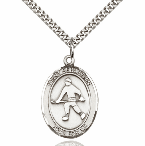 St Sebastian Field Hockey Silver-Filled Patron Saint Medal by Bliss Manufacturing