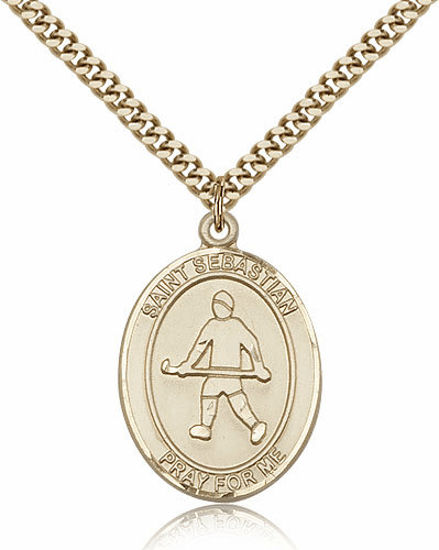 St Sebastian Field Hockey Sports 14kt Gold-Filled Pendant Necklace by Bliss