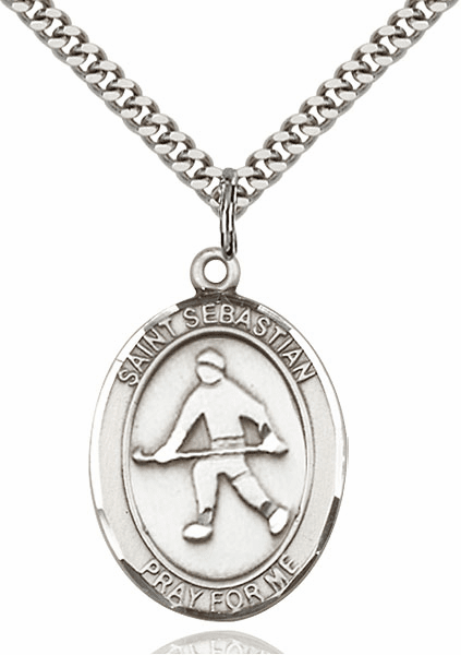 St Sebastian Field Hockey Sports Sterling Silver Pendant Necklace by Bliss