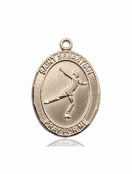St Sebastian Figure Skating 14kt Gold Sports Medal Pendant by Bliss