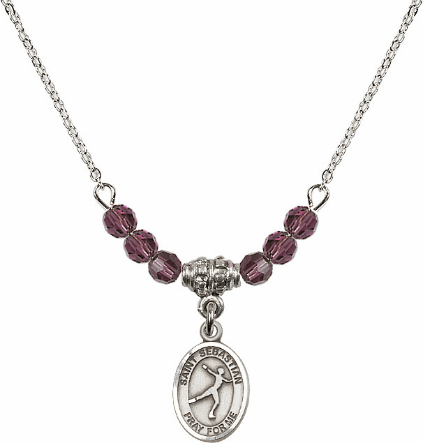 St Sebastian Figure Skating 4mm Swarovski Crystal February Amethyst Necklace by Bliss Mfg