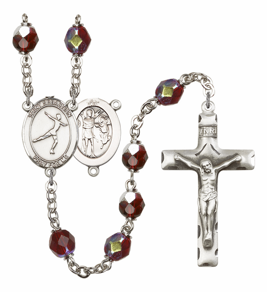 St Sebastian Figure Skating 7mm Lock Link Aurora Borealis Garnet Beads Prayer Rosary by Bliss Mfg