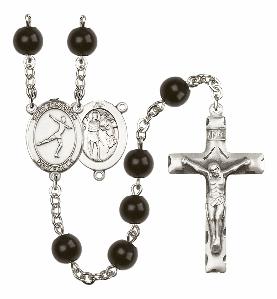St Sebastian Figure Skating Silver Plate 7mm Black Onyx  Prayer Rosary by Bliss