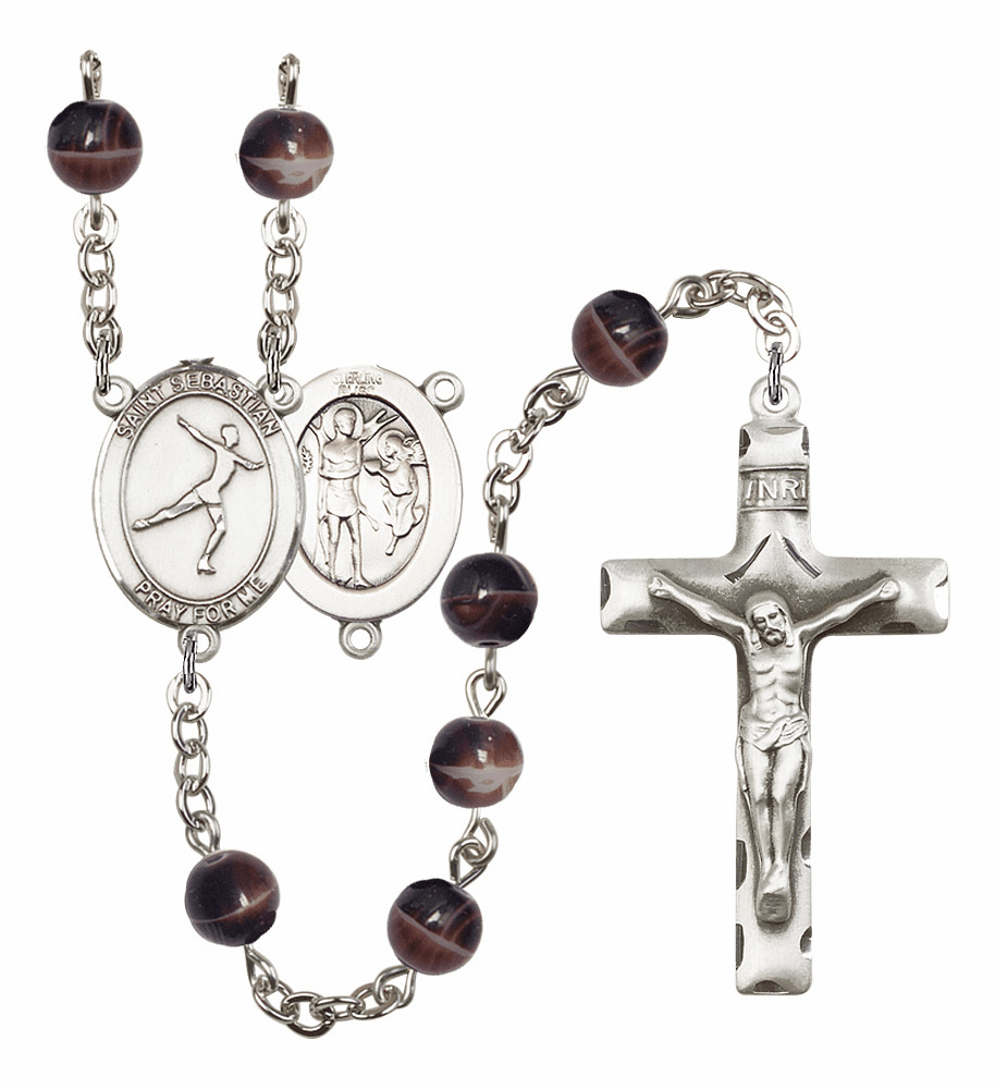 St Sebastian Figure Skating Silver Plate 7mm Brown Gemstone Prayer Rosary by Bliss