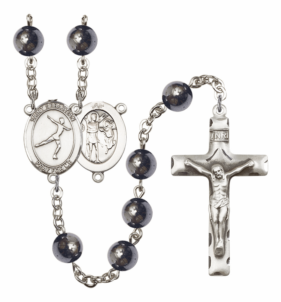 St Sebastian Figure Skating 8mm Hematite Gemstone Rosary by Bliss