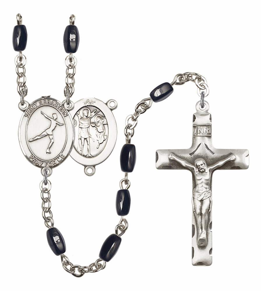 St Sebastian Figure Skating Silver Plate 8x5mm Black Onyx Gemstone Prayer Rosary by Bliss