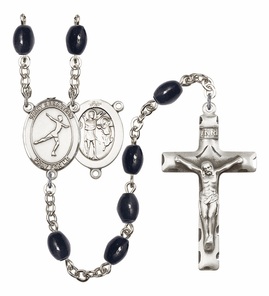 St Sebastian Figure Skating Silver Plate 8x6mm Black Onyx Gemstone Prayer Rosary by Bliss