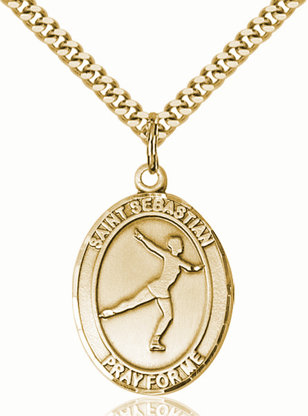 St Sebastian Figure Skating Sports 14kt Gold-Filled Pendant Necklace by Bliss