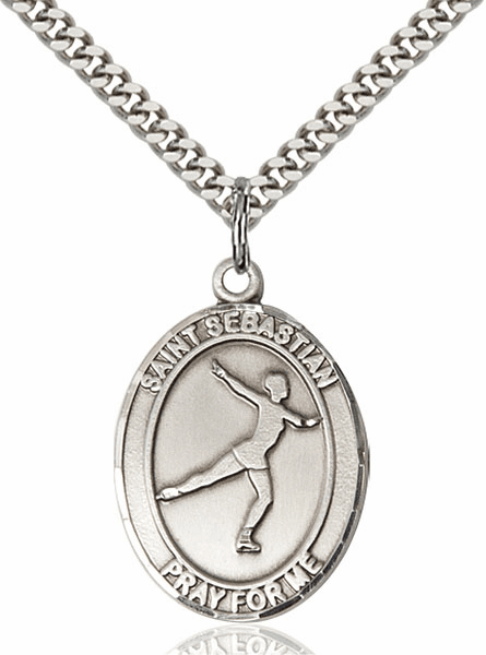 St Sebastian Figure Skating Sports Sterling Silver Pendant Necklace by Bliss