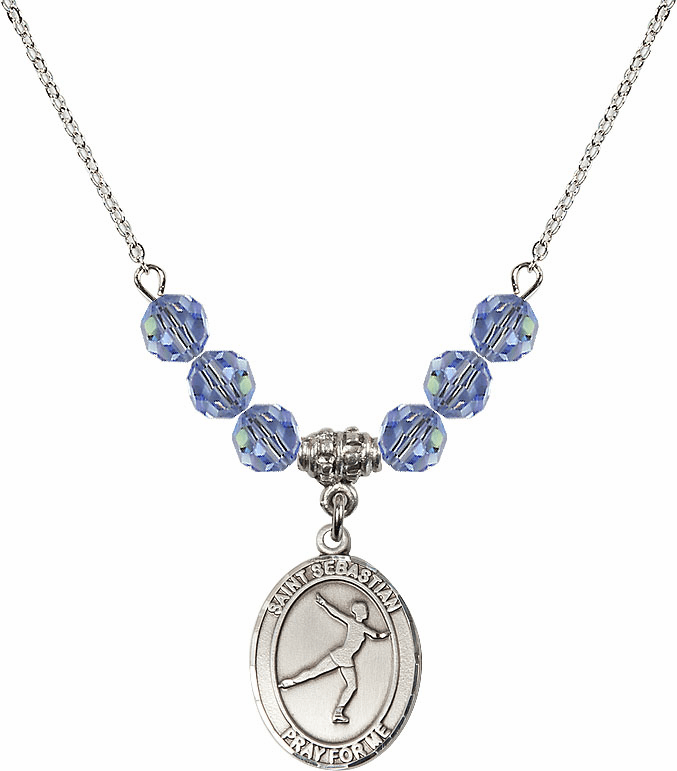 St Sebastian Figure Skating Swarovski Crystal Beaded Patron Saint Necklace by Bliss Mfg