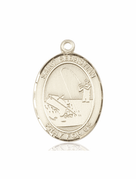 St Sebastian Fishing 14kt Gold Sports Medal Pendant by Bliss