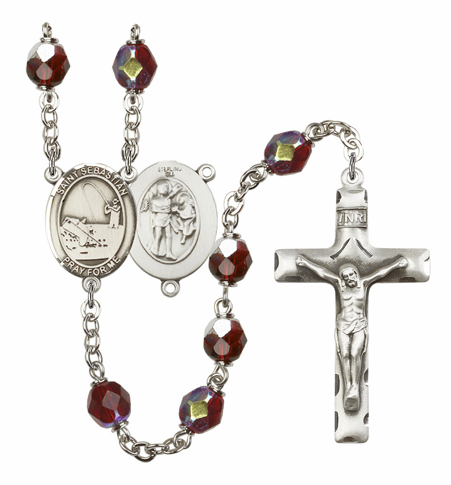 St Sebastian Fishing 7mm Lock Link Aurora Borealis Garnet Beads Prayer Rosary by Bliss Mfg