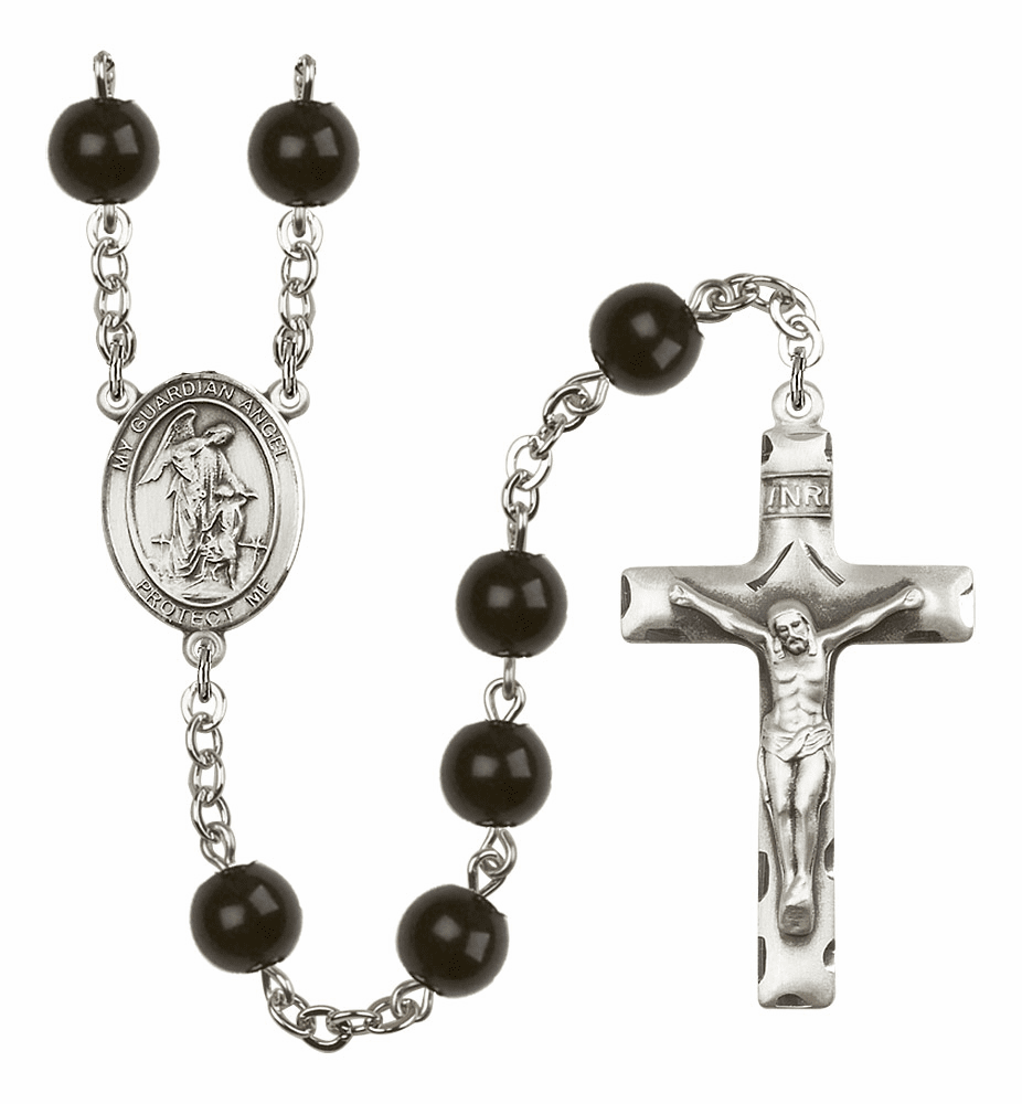 St Sebastian Fishing Silver Plate 7mm Black Onyx  Prayer Rosary by Bliss