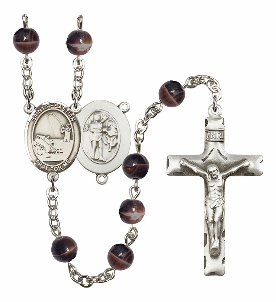 St Sebastian Fishing Silver Plate 7mm Brown Gemstone Prayer Rosary by Bliss