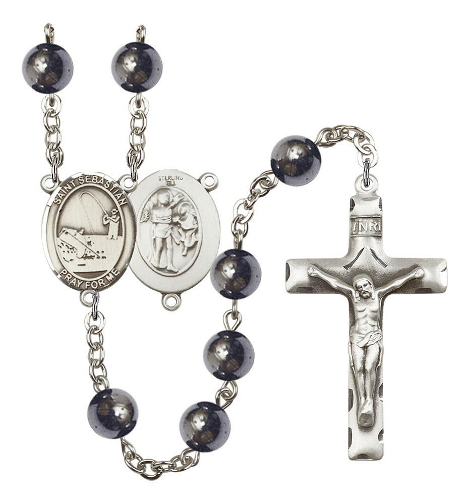 St Sebastian Fishing 8mm Hematite Gemstone Rosary by Bliss