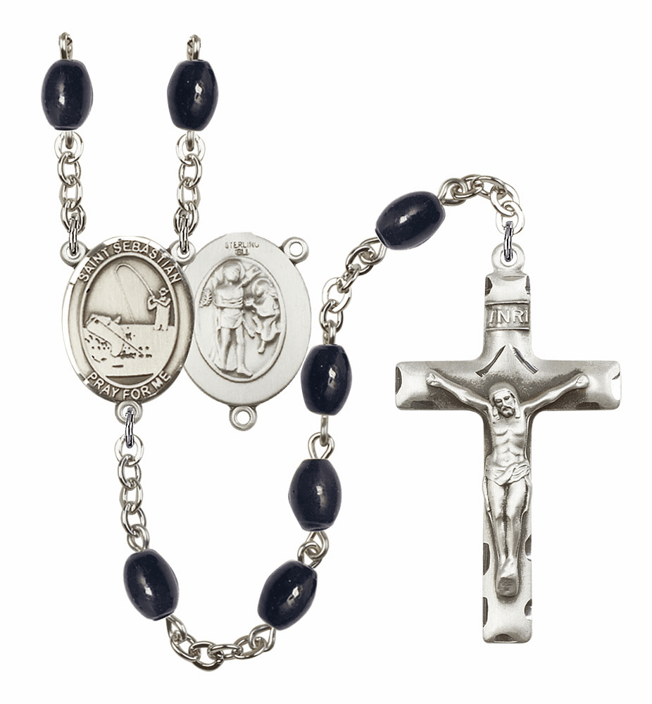 St Sebastian Fishing Silver Plate 8x6mm Black Onyx Gemstone Prayer Rosary by Bliss