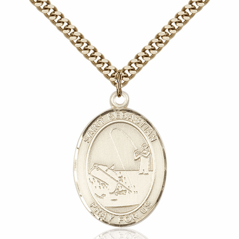 St Sebastian Fishing Sports 14kt Gold-Filled Pendant Necklace by Bliss