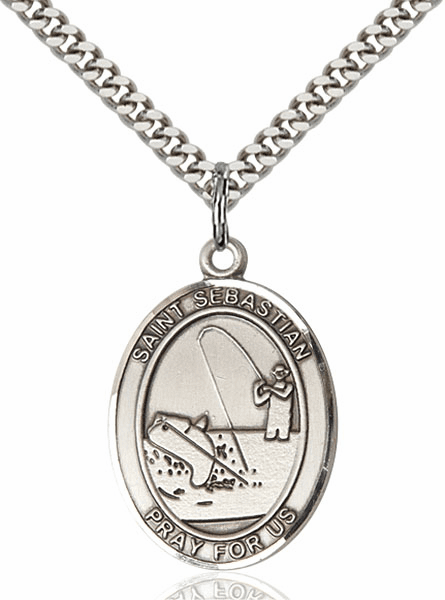 St Sebastian Fishing Sports Sterling Silver Pendant Necklace by Bliss