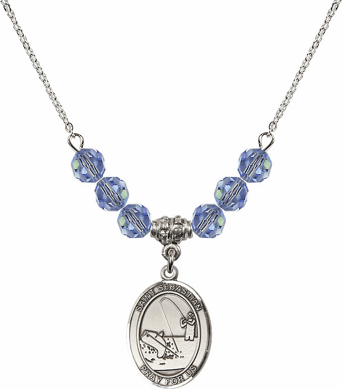 St Sebastian Fishing Swarovski Crystal Beaded Patron Saint Necklace by Bliss Mfg