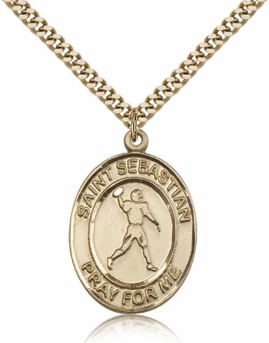 St Sebastian Football 14kt Gold-Filled Sports Medal Necklace by Bliss