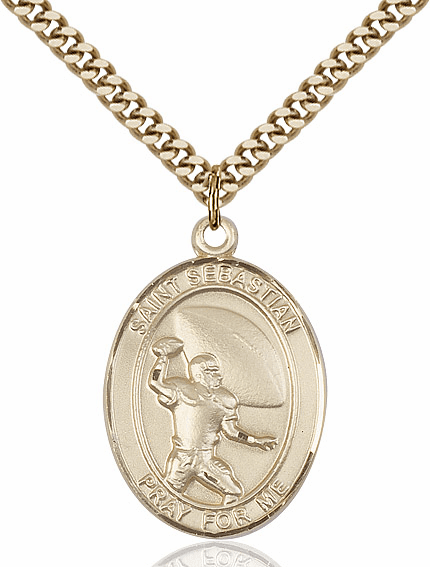 St Sebastian Football 14kt Gold-Filled Sports Necklace by Bliss