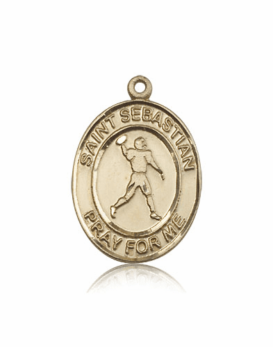St Sebastian Football 14kt Gold Sports Medal by Bliss Mfg