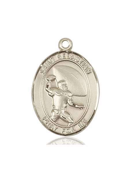 St Sebastian Football 14kt Gold Sports Saint Medal by Bliss Mfg