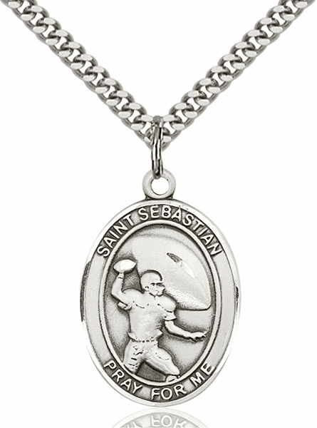 St Sebastian Football Pewter Patron Saint Necklace by Bliss