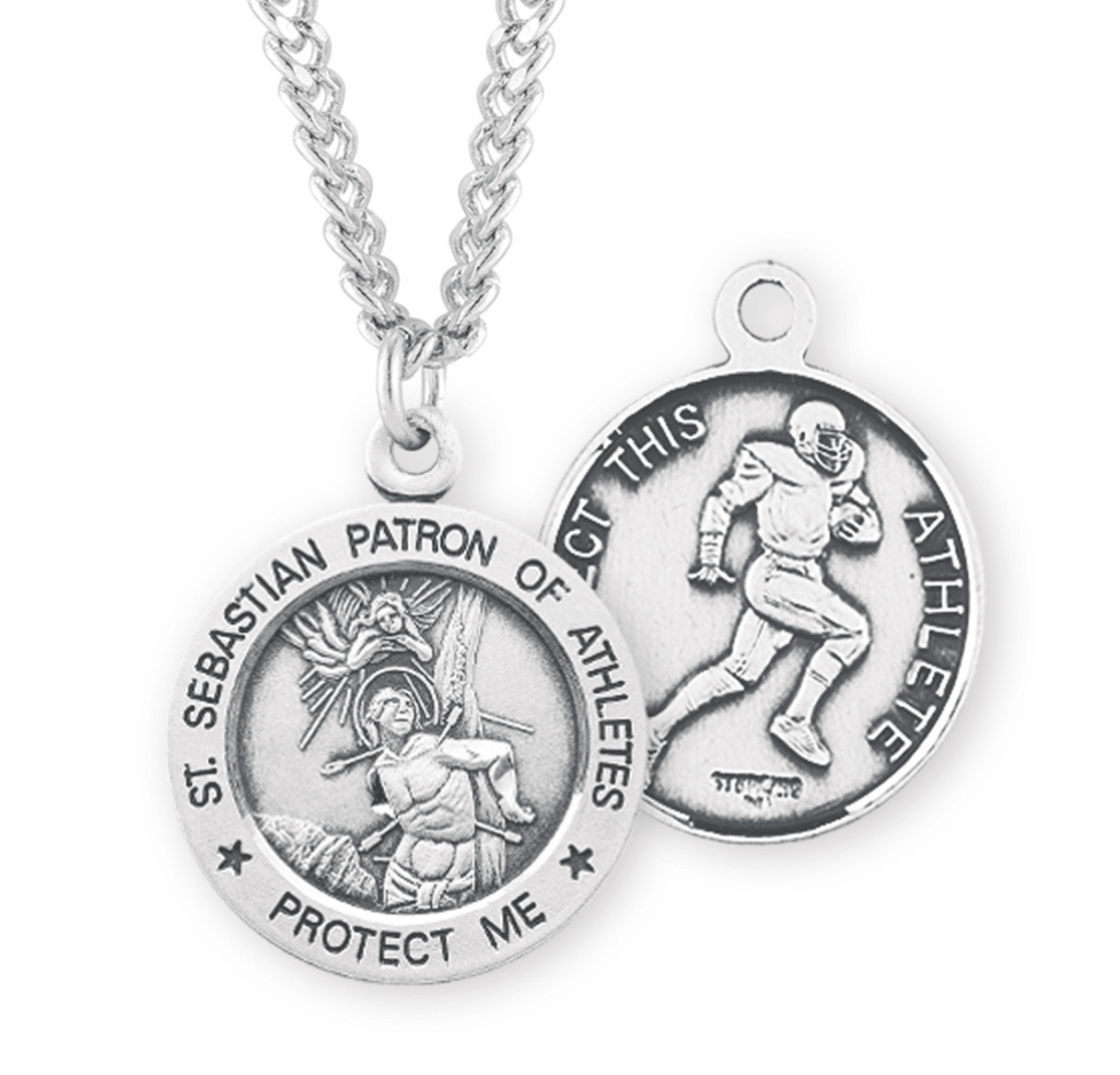 HMH Religious St Sebastian Football Sterling Silver Necklace
