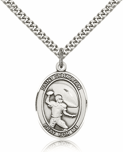 St. Sebastian Football Sterling Silver Pendant by Bliss