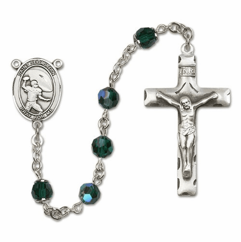 St Sebastian Football Sterling Silver Sports Rosary