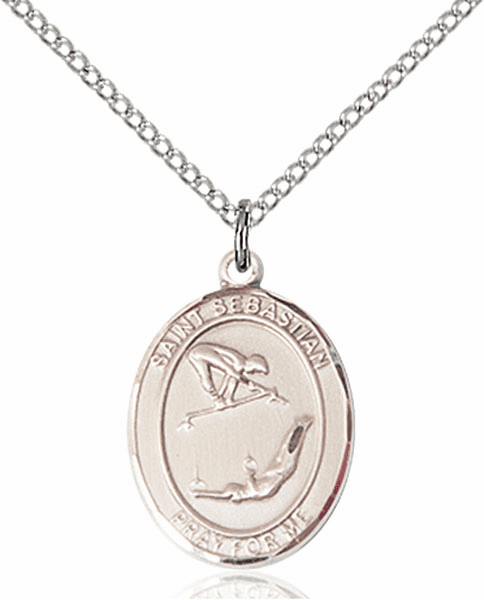 St Sebastian Girl's Gymnastics Pewter Patron Saint Necklace by Bliss