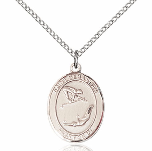 St Sebastian Girl's Gymnastics Silver-Filled Patron Saint Medal by Bliss Manufacturing