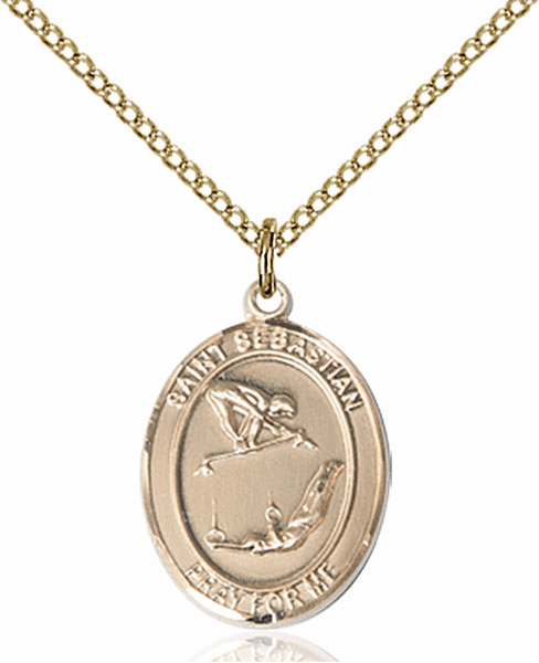 St Sebastian Girl's Gymnastics Sports 14kt Gold-Filled Pendant Necklace by Bliss
