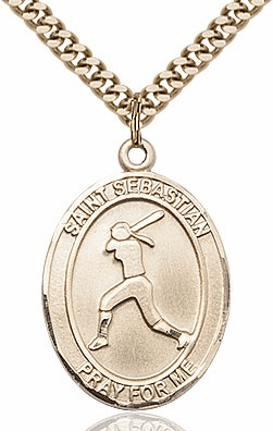 St Sebastian Girl's Softball Player 14kt Gold-Filled Pendant Necklace by Bliss