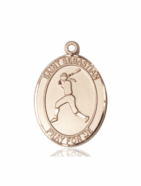 St Sebastian Girl's Softball Player 14kt Gold Sports Medal Pendant by Bliss