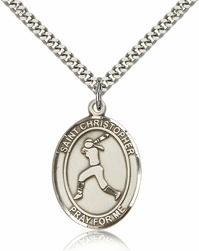 St Sebastian Girl's Softball Player Pewter Patron Saint Necklace by Bliss