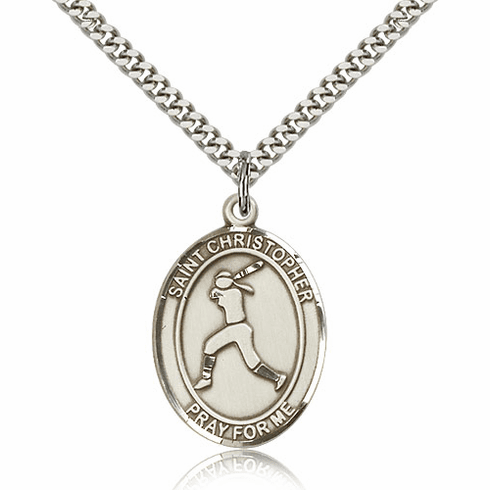 St Sebastian Girl's Softball Player Sterling Silver Necklace by Bliss