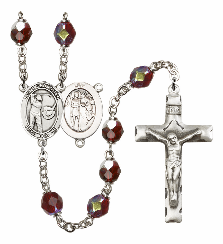 St Sebastian Golf 7mm Lock Link AB Garnet Rosary by Bliss Mfg