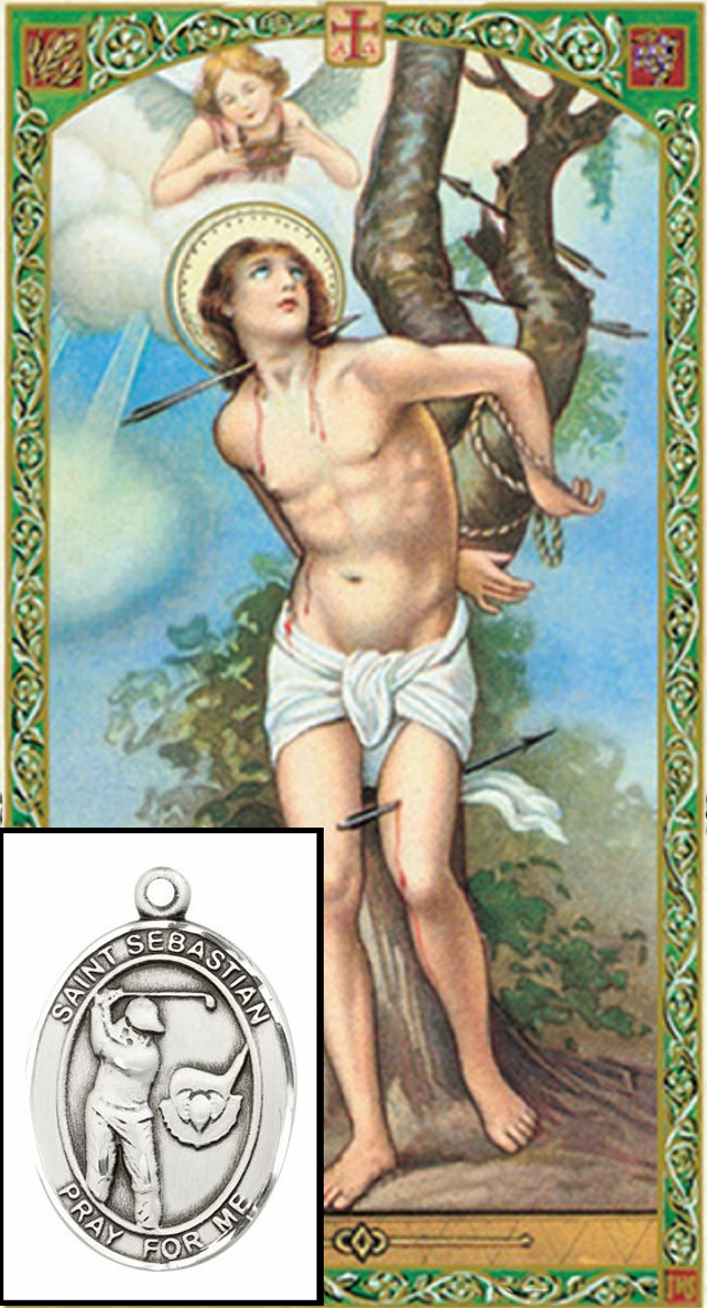 St Sebastian Golf Prayer Card and Pewter Pendant Necklace Gift Set