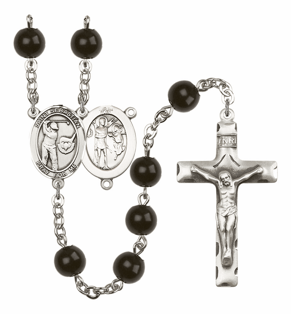 Bliss Mfg St Sebastian Golf Silver 7mm Black Onyx Rosary