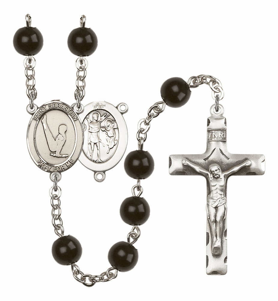 St Sebastian Gymnastics Silver Plate 7mm Black Onyx  Prayer Rosary by Bliss