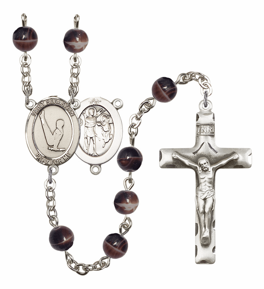 St Sebastian Gymnastics Silver Plate 7mm Brown Gemstone Prayer Rosary by Bliss