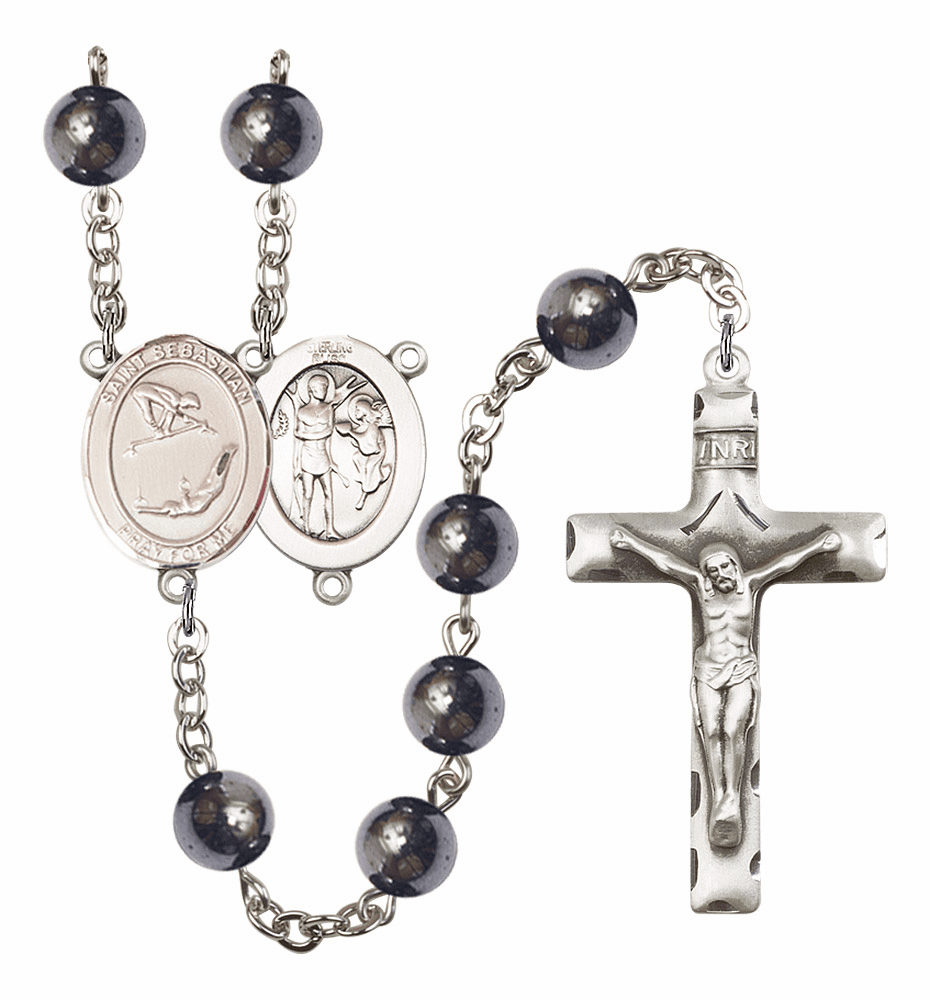 St Sebastian Gymnastics Silver Plate 8mm Hematite Gemstone Prayer Rosary by Bliss