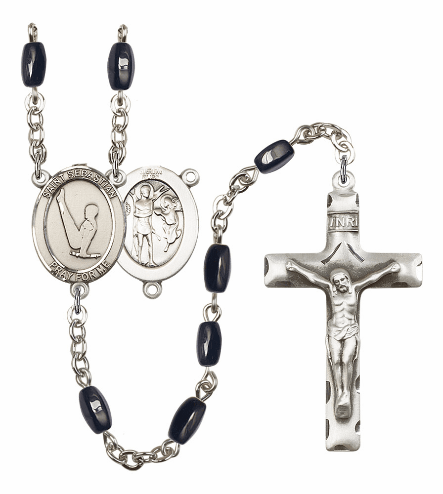 St Sebastian Gymnastics Silver Plate 8x5mm Black Onyx Gemstone Prayer Rosary by Bliss
