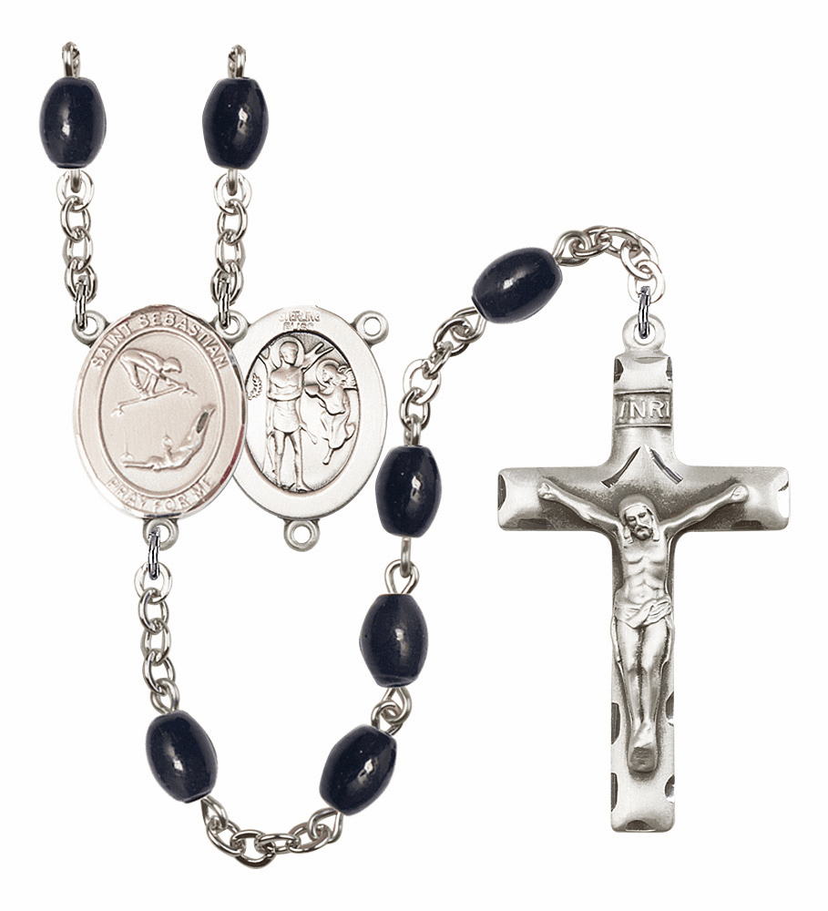 St Sebastian Gymnastics Silver Plate 8x6mm Black Onyx Gemstone Prayer Rosary by Bliss