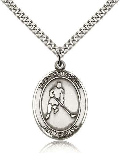 St Sebastian Hockey Sport Saint Medal Necklace