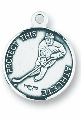 St Sebastian Hockey Sterling Silver Necklace by HMH Religious