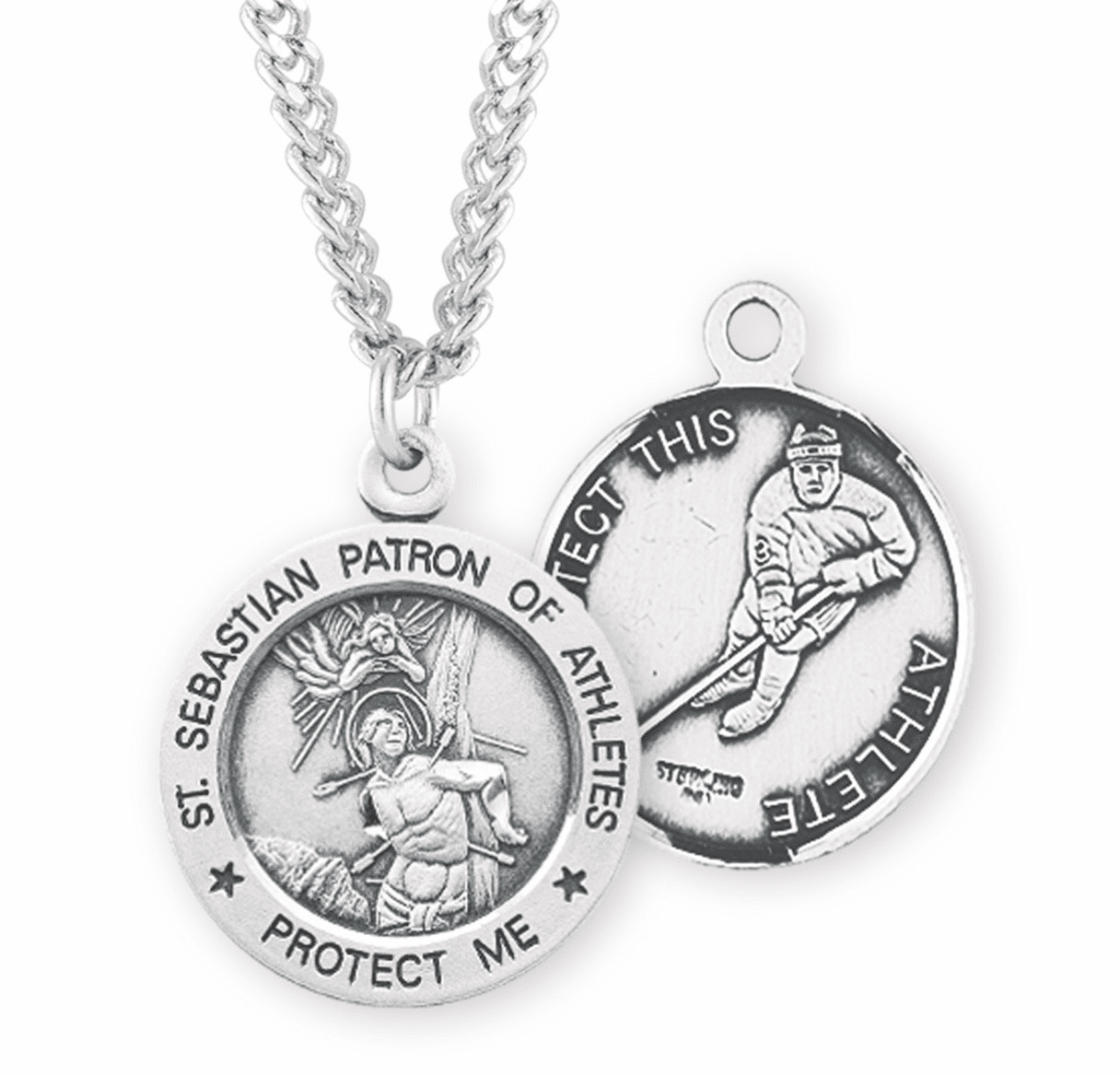 HMH Religious St Sebastian Hockey Sterling Silver Necklace
