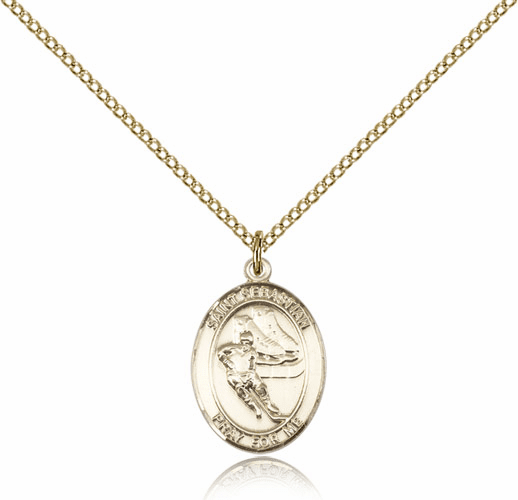 St Sebastian Ice Hockey 14kt Gold-Filled Saint Pendant by Bliss